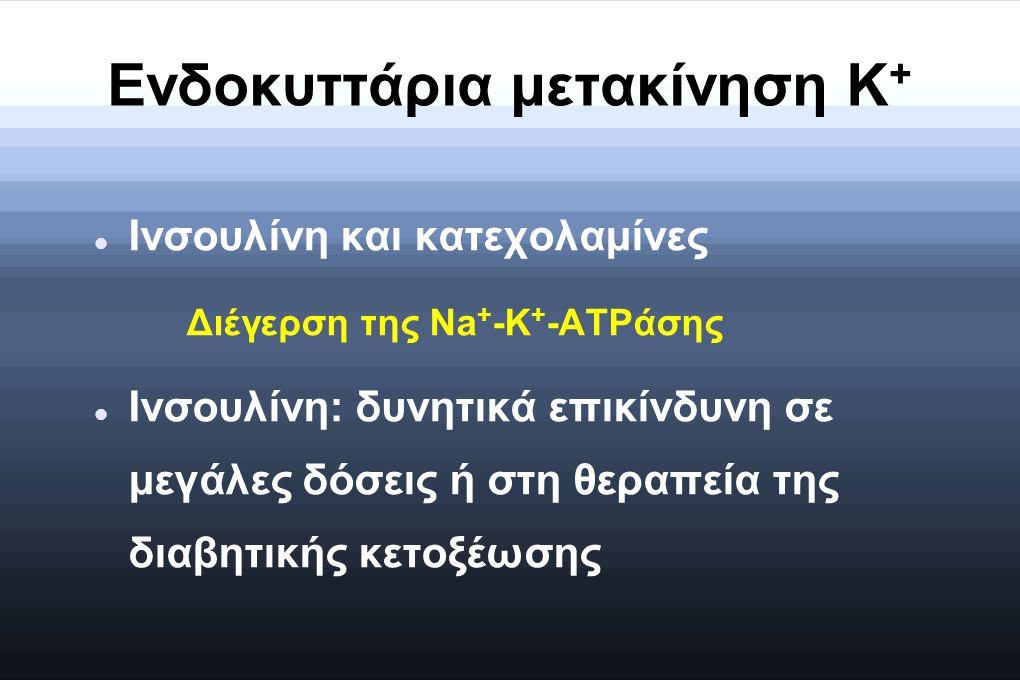 Ενδοκυττάρια μετακίνηση K + Ινσουλίνη και κατεχολαμίνες Διέγερση της Na + -K + -ATPάσης Ινσουλίνη: δυνητικά επικίνδυνη σε μεγάλες δόσεις ή στη θεραπεί