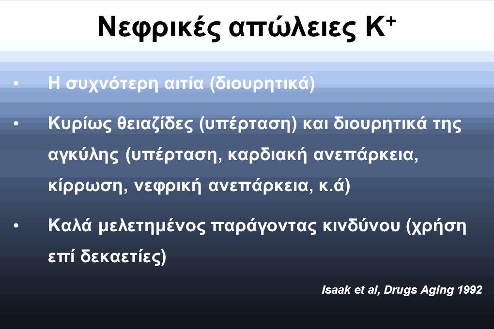 Νεφρικές απώλειες Κ + Η συχνότερη αιτία (διουρητικά) Κυρίως θειαζίδες (υπέρταση) και διουρητικά της αγκύλης (υπέρταση, καρδιακή ανεπάρκεια, κίρρωση, ν