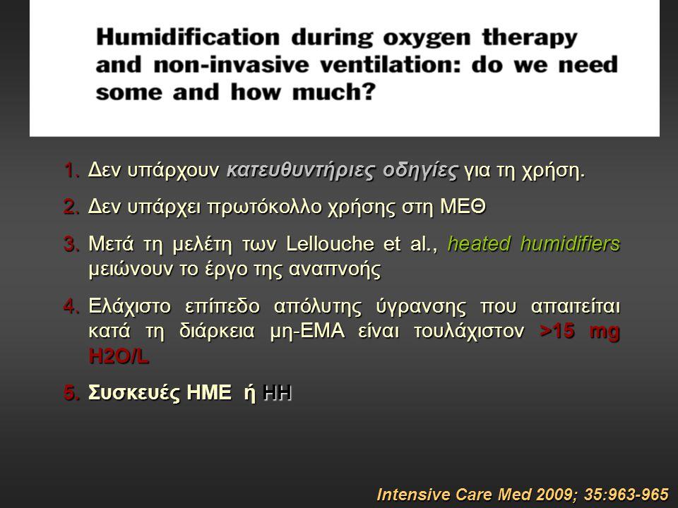 Intensive Care Med 2009; 35:963-965 1.Δεν υπάρχουν κατευθυντήριες οδηγίες για τη χρήση. 2.Δεν υπάρχει πρωτόκολλο χρήσης στη ΜΕΘ 3.Μετά τη μελέτη των L