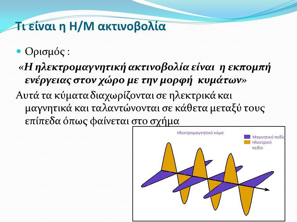 Μεγέθη Η/Μ ακτινοβολίας Τα μεγέθη που χαρακτηρίζουν την κάθε ακτινοβολία είναι : η συχνότητα (f) και μετριέται σε Hz (κύκλοι ανά δευτερόλεπτο) και πολαπλάσια αυτού (KHz,ΜΗz, GHz) Η ένταση του ηλεκτρικού πεδίου (Ε) μετριέται σε Volt ανά μέτρο (Volt/m ή V/m) Η ένταση του μαγνητικού πεδίου η οποία μετριέται σε Γκάους (G) ή πιο συχνά σε μίλιγκαους (mG) (επίσης σε Tesla ή μT με 1Τ=10.000 G) Η ισχύς ενός ηλεκτρομαγνητικού κύμματος η οποία μετριέται σε Watt ή υποπολλαπλάσια αυτού (mW, μW) Η πυκνότητα ισχύος η οποία μετριέται σε Watt/m 2 ή mW/m 2 ή mW/cm 2 ή μW/cm 2