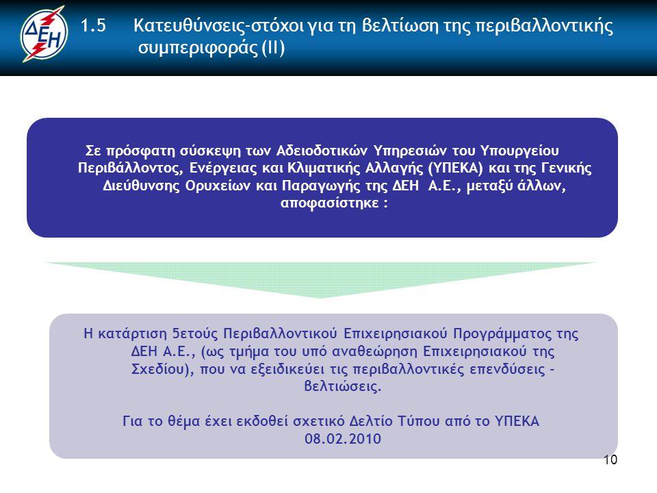 10 1.5 Κατευθύνσεις-στόχοι για τη βελτίωση της περιβαλλοντικής συμπεριφοράς (ΙΙ) Σε πρόσφατη σύσκεψη των Αδειοδοτικών Υπηρεσιών του Υπουργείου Περιβάλλοντος, Ενέργειας και Κλιματικής Αλλαγής (ΥΠΕΚΑ) και της Γενικής Διεύθυνσης Ορυχείων και Παραγωγής της ΔΕΗ Α.Ε., μεταξύ άλλων, αποφασίστηκε : Η κατάρτιση 5ετούς Περιβαλλοντικού Επιχειρησιακού Προγράμματος της ΔΕΗ Α.Ε., (ως τμήμα του υπό αναθεώρηση Επιχειρησιακού της Σχεδίου), που να εξειδικεύει τις περιβαλλοντικές επενδύσεις - βελτιώσεις.