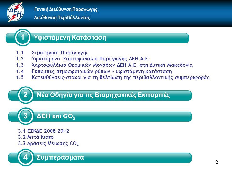 2 2 Νέα Οδηγία για τις Βιομηχανικές Εκπομπές 1.1 Στρατηγική Παραγωγής 1.2 Υφιστάμενο Χαρτοφυλάκιο Παραγωγής ΔΕΗ Α.Ε.