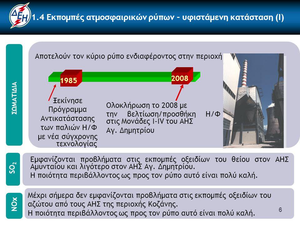 6 1.4 Εκπομπές ατμοσφαιρικών ρύπων – υφιστάμενη κατάσταση (I) Αποτελούν τον κύριο ρύπο ενδιαφέροντος στην περιοχή Μέχρι σήμερα δεν εμφανίζονται προβλήματα στις εκπομπές οξειδίων του αζώτου από τους ΑΗΣ της περιοχής Κοζάνης.