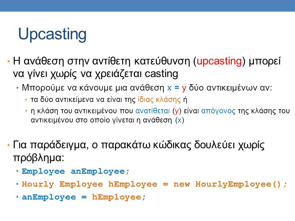 Upcasting H ανάθεση στην αντίθετη κατεύθυνση (upcasting) μπορεί να γίνει χωρίς να χρειάζεται casting Μπορούμε να κάνουμε μια ανάθεση x = y δύο αντικειμένων αν: τα δύο αντικείμενα να είναι της ίδιας κλάσης ή η κλάση του αντικειμένου που ανατίθεται (y) είναι απόγονος της κλάσης του αντικειμένου στο οποίο γίνεται η ανάθεση (x) Για παράδειγμα, ο παρακάτω κώδικας δουλεύει χωρίς πρόβλημα: Employee anEmployee; Hourly Employee hEmployee = new HourlyEmployee(); anEmployee = hEmployee;