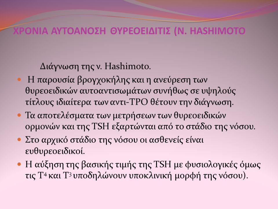 ΧΡΟΝΙΑ ΑΥΤΟΑΝΟΣΗ ΘΥΡΕΟΕΙΔΙΤΙΣ (Ν. HASHIMOTO Διάγνωση της ν. Hashimoto. Η παρουσία βρογχοκήλης και η ανεύρεση των θυρεοειδικών αυτοαντισωμάτων συνήθως