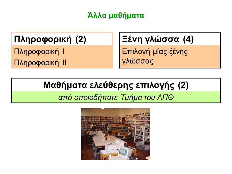 Άλλα μαθήματα Πληροφορική (2)Ξένη γλώσσα (4) Πληροφορική Ι Πληροφορική ΙΙ Επιλογή μίας ξένης γλώσσας Μαθήματα ελεύθερης επιλογής (2) από οποιοδήποτε Τμήμα του ΑΠΘ