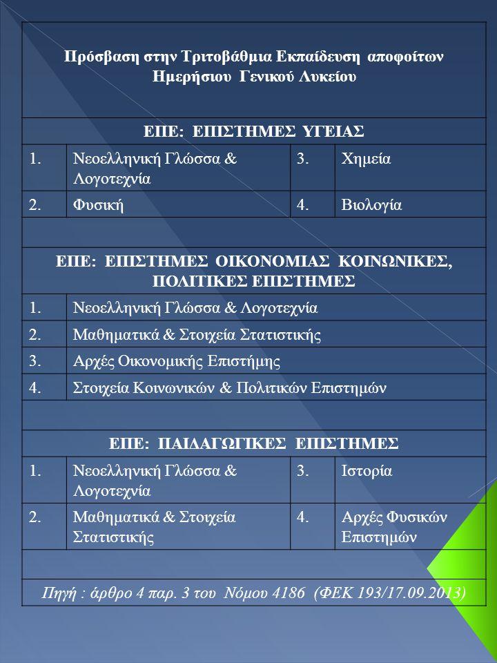 Πρόσβαση στην Τριτοβάθμια Εκπαίδευση αποφοίτων Ημερήσιου Γενικού Λυκείου ΕΠΕ: ΕΠΙΣΤΗΜΕΣ ΥΓΕΙΑΣ 1.Νεοελληνική Γλώσσα & Λογοτεχνία 3.Χημεία 2.Φυσική4.Βιολογία ΕΠΕ: ΕΠΙΣΤΗΜΕΣ ΟΙΚΟΝΟΜΙΑΣ ΚΟΙΝΩΝΙΚΕΣ, ΠΟΛΙΤΙΚΕΣ ΕΠΙΣΤΗΜΕΣ 1.Νεοελληνική Γλώσσα & Λογοτεχνία 2.Μαθηματικά & Στοιχεία Στατιστικής 3.Αρχές Οικονομικής Επιστήμης 4.Στοιχεία Κοινωνικών & Πολιτικών Επιστημών ΕΠΕ: ΠΑΙΔΑΓΩΓΙΚΕΣ ΕΠΙΣΤΗΜΕΣ 1.Νεοελληνική Γλώσσα & Λογοτεχνία 3.Ιστορία 2.Μαθηματικά & Στοιχεία Στατιστικής 4.Αρχές Φυσικών Επιστημών Πηγή : άρθρο 4 παρ.
