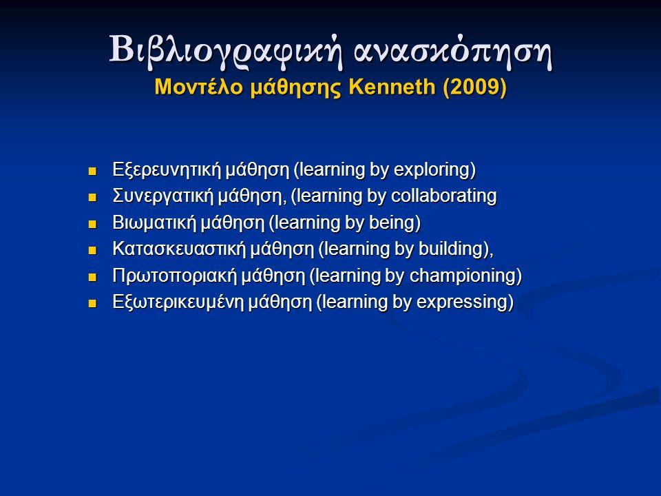 Εξερευνητική μάθηση (learning by exploring) Εξερευνητική μάθηση (learning by exploring) Συνεργατική μάθηση, (learning by collaborating Συνεργατική μάθηση, (learning by collaborating Βιωματική μάθηση (learning by being) Βιωματική μάθηση (learning by being) Κατασκευαστική μάθηση (learning by building), Κατασκευαστική μάθηση (learning by building), Πρωτοποριακή μάθηση (learning by championing) Πρωτοποριακή μάθηση (learning by championing) Εξωτερικευμένη μάθηση (learning by expressing) Εξωτερικευμένη μάθηση (learning by expressing) Βιβλιογραφική ανασκόπηση Μοντέλο μάθησης Kenneth (2009)