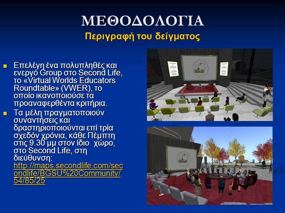 ΜΕΘΟΔΟΛΟΓΙΑ Περιγραφή του δείγματος Επελέγη ένα πολυπληθές και ενεργό Group στο Second Life, το «Virtual Worlds Educators Roundtable» (VWER), το οποίο ικανοποιούσε τα προαναφερθέντα κριτήρια.