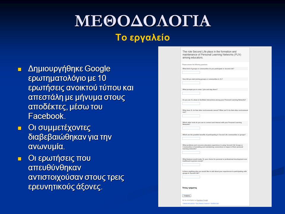 ΜΕΘΟΔΟΛΟΓΙΑ ΜΕΘΟΔΟΛΟΓΙΑ Το εργαλείο Δημιουργήθηκε Google ερωτηματολόγιο με 10 ερωτήσεις ανοικτού τύπου και απεστάλη με μήνυμα στους αποδέκτες, μέσω του Facebook.