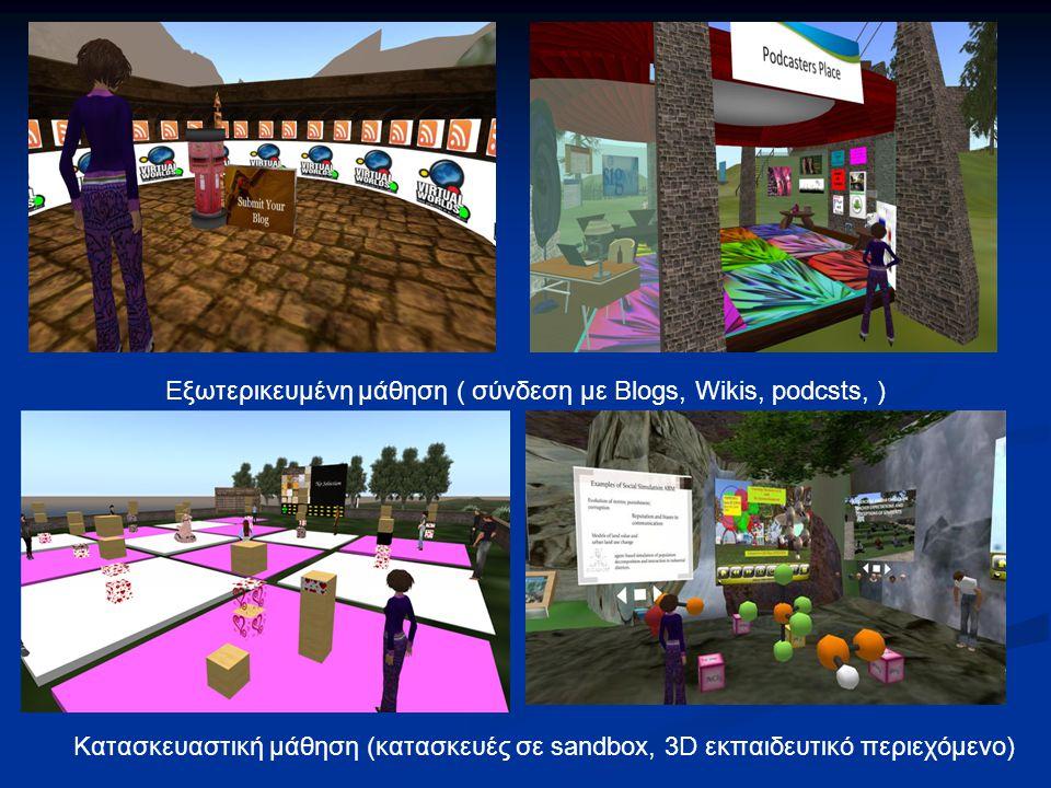 Κατασκευαστική μάθηση (κατασκευές σε sandbox, 3D εκπαιδευτικό περιεχόμενο) Εξωτερικευμένη μάθηση ( σύνδεση με Blogs, Wikis, podcsts, )