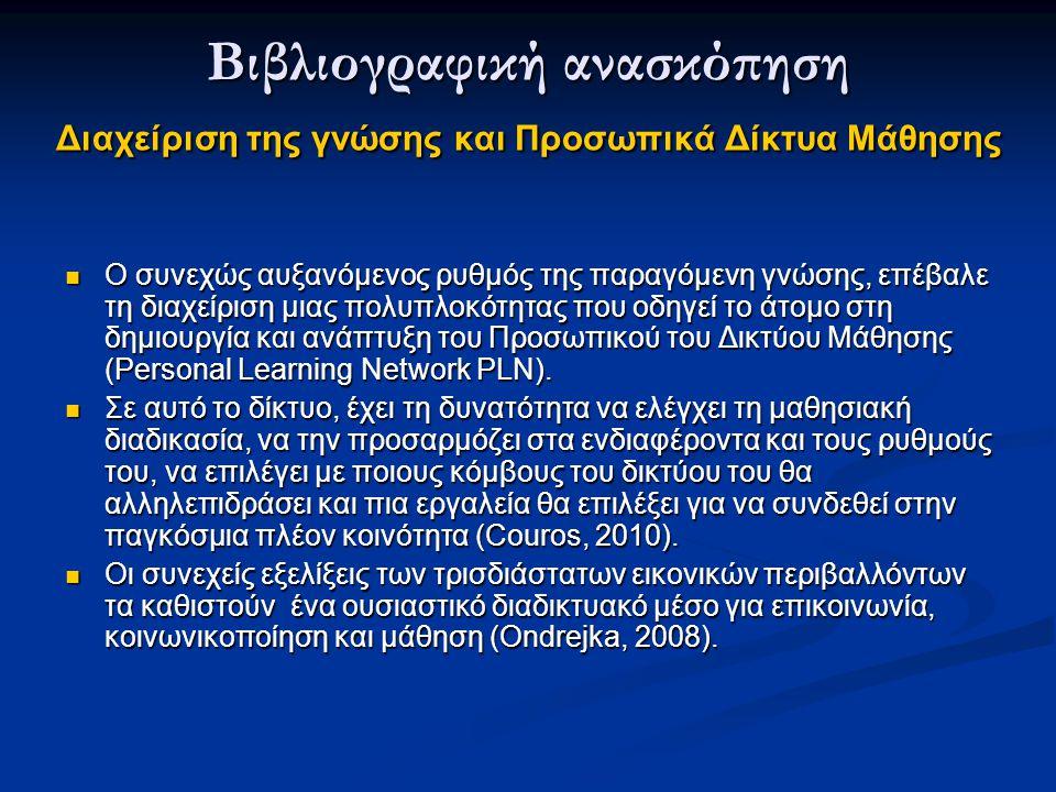 Ο συνεχώς αυξανόμενος ρυθμός της παραγόμενη γνώσης, επέβαλε τη διαχείριση μιας πολυπλοκότητας που οδηγεί το άτομο στη δημιουργία και ανάπτυξη του Προσωπικού του Δικτύου Μάθησης (Personal Learning Network PLN).