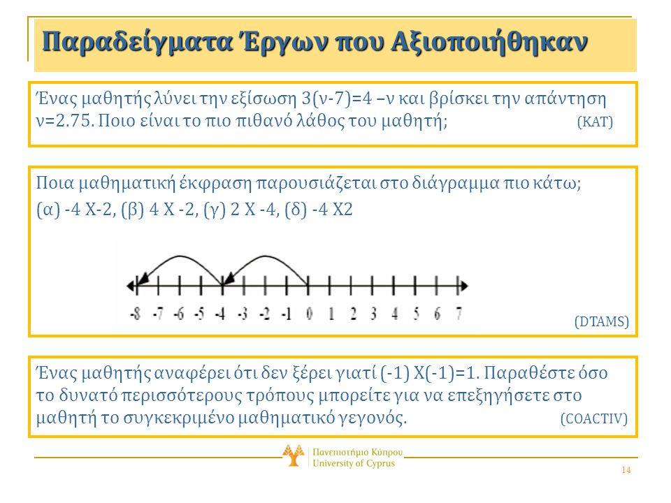 14 Παραδείγματα Έργων που Αξιοποιήθηκαν Ένας μαθητής λύνει την εξίσωση 3(ν-7)=4 –ν και βρίσκει την απάντηση ν=2.75.