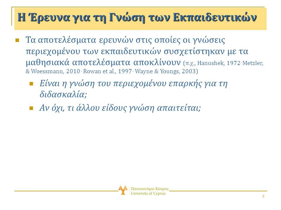 9 Η Έρευνα για τη Γνώση των Εκπαιδευτικών Τα αποτελέσματα ερευνών στις οποίες οι γνώσεις περιεχομένου των εκπαιδευτικών συσχετίστηκαν με τα μαθησιακά αποτελέσματα αποκλίνουν (π.χ., Hanushek, 1972.