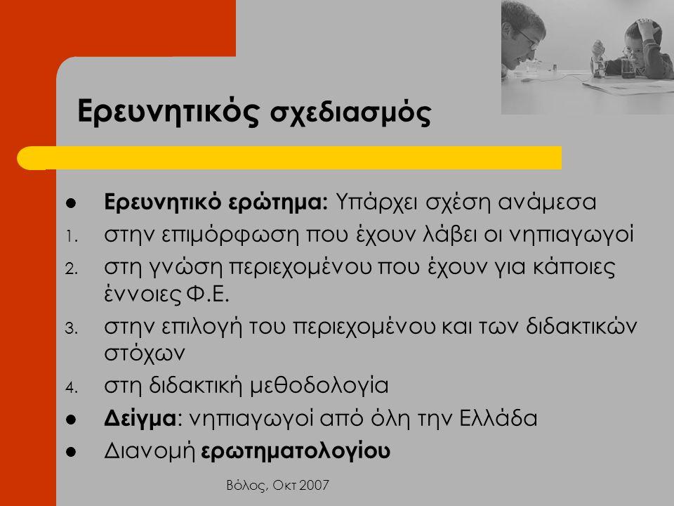 Βόλος, Οκτ 2007 Ερευνητικός σχεδιασμός Ερευνητικό ερώτημα: Υπάρχει σχέση ανάμεσα 1. στην επιμόρφωση που έχουν λάβει οι νηπιαγωγοί 2. στη γνώση περιεχο
