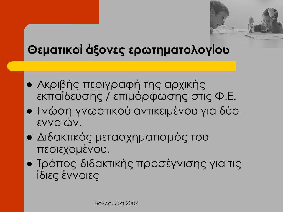 Βόλος, Οκτ 2007 Θεματικοί άξονες ερωτηματολογίου Ακριβής περιγραφή της αρχικής εκπαίδευσης / επιμόρφωσης στις Φ.Ε. Γνώση γνωστικού αντικειμένου για δύ
