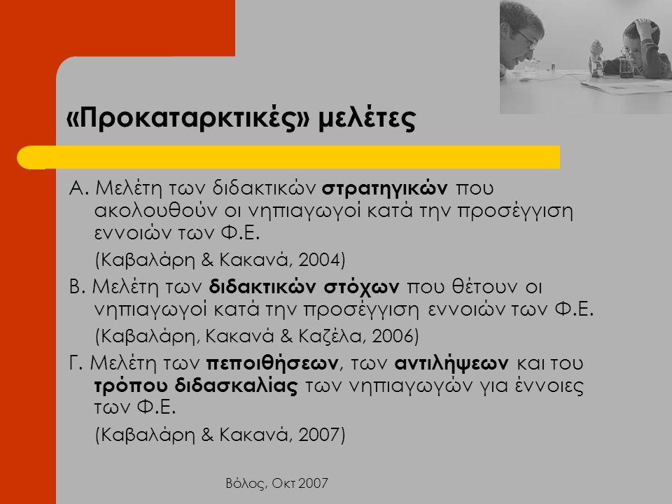 Βόλος, Οκτ 2007 «Προκαταρκτικές» μελέτες Α. Μελέτη των διδακτικών στρατηγικών που ακολουθούν οι νηπιαγωγοί κατά την προσέγγιση εννοιών των Φ.Ε. (Καβαλ