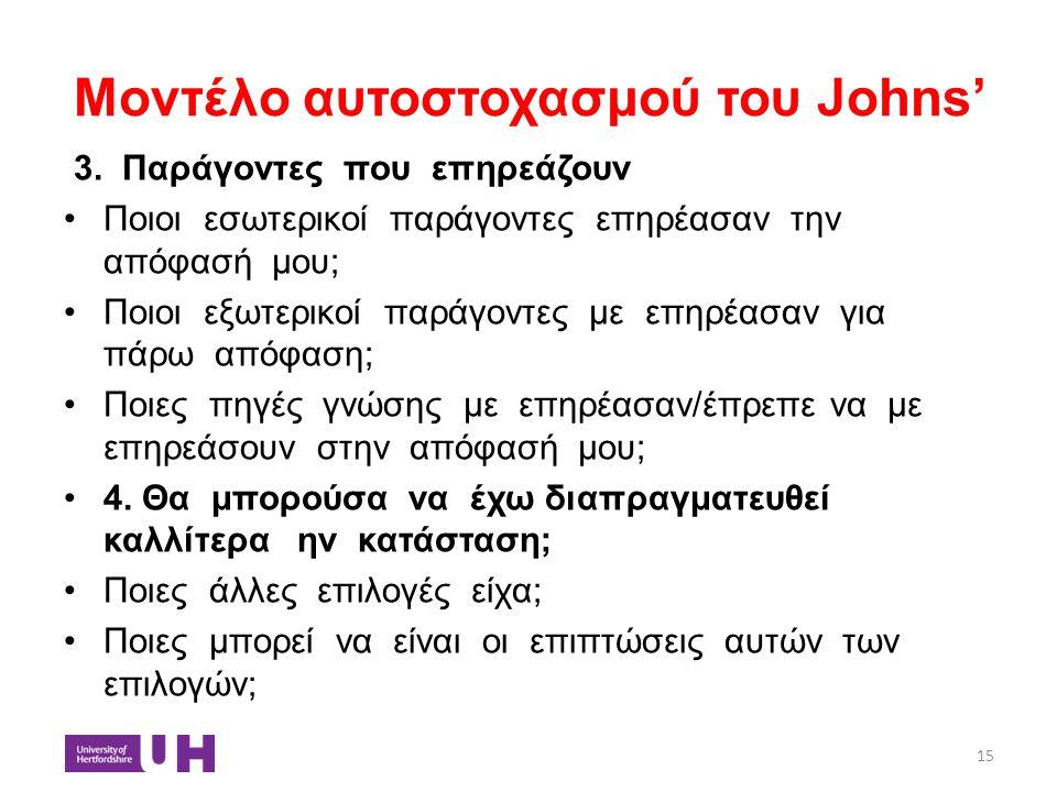 Μοντέλο αυτοστοχασμού του Johns' 3. Παράγοντες που επηρεάζουν Ποιοι εσωτερικοί παράγοντες επηρέασαν την απόφασή μου; Ποιοι εξωτερικοί παράγοντες με επ