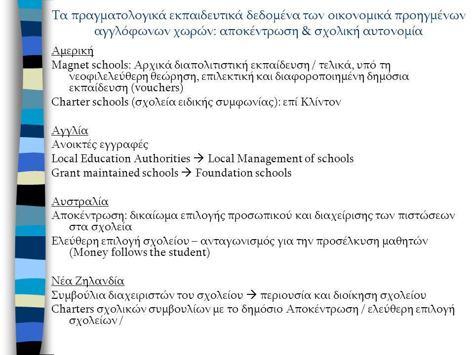 Αμερική Magnet schools: Αρχικά διαπολιτιστική εκπαίδευση / τελικά, υπό τη νεοφιλελεύθερη θεώρηση, επιλεκτική και διαφοροποιημένη δημόσια εκπαίδευση (vouchers) Charter schools (σχολεία ειδικής συμφωνίας): επί Κλίντον Αγγλία Ανοικτές εγγραφές Local Education Authorities  Local Management of schools Grant maintained schools  Foundation schools Αυστραλία Αποκέντρωση: δικαίωμα επιλογής προσωπικού και διαχείρισης των πιστώσεων στα σχολεία Ελεύθερη επιλογή σχολείου – ανταγωνισμός για την προσέλκυση μαθητών (Money follows the student) Νέα Ζηλανδία Συμβούλια διαχειριστών του σχολείου  περιουσία και διοίκηση σχολείου Charters σχολικών συμβουλίων με το δημόσιο Αποκέντρωση / ελεύθερη επιλογή σχολείων / Τα πραγματολογικά εκπαιδευτικά δεδομένα των οικονομικά προηγμένων αγγλόφωνων χωρών: αποκέντρωση & σχολική αυτονομία