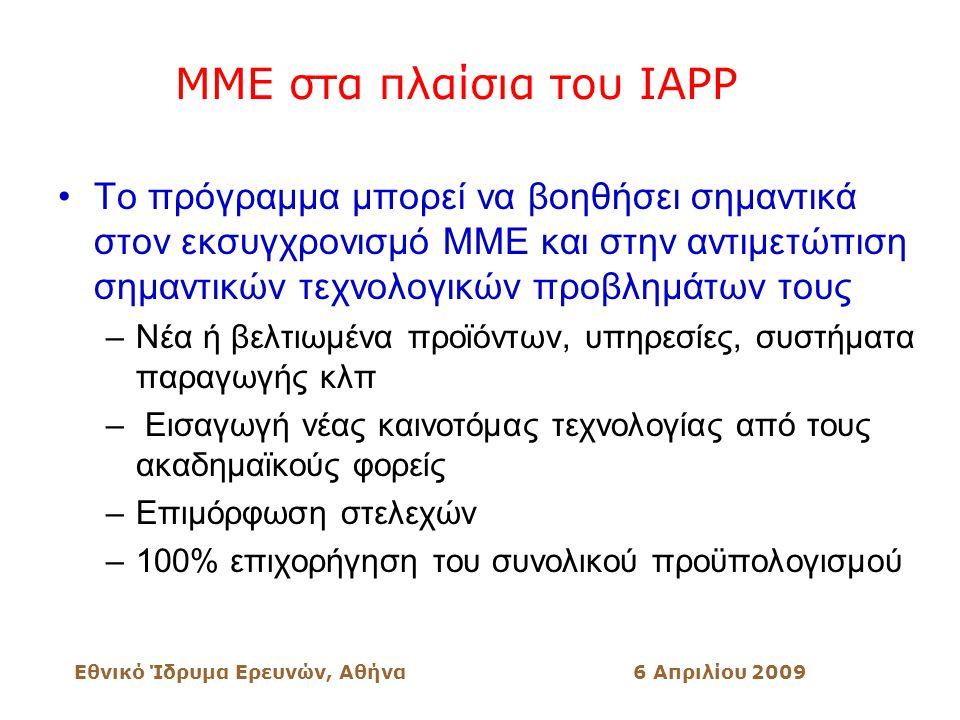 Εθνικό Ίδρυμα Ερευνών, Αθήνα6 Απριλίου 2009 ΜΜΕ στα πλαίσια του IAPP Το πρόγραμμα μπορεί να βοηθήσει σημαντικά στον εκσυγχρονισμό ΜΜΕ και στην αντιμετώπιση σημαντικών τεχνολογικών προβλημάτων τους –Νέα ή βελτιωμένα προϊόντων, υπηρεσίες, συστήματα παραγωγής κλπ – Εισαγωγή νέας καινοτόμας τεχνολογίας από τους ακαδημαϊκούς φορείς –Επιμόρφωση στελεχών –100% επιχορήγηση του συνολικού προϋπολογισμού