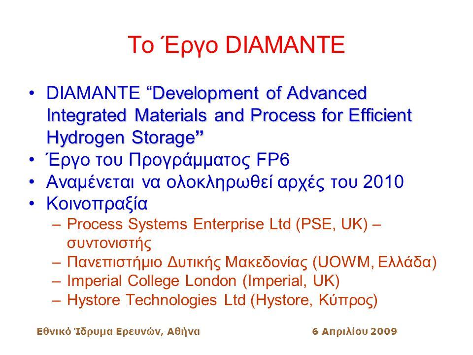 Εθνικό Ίδρυμα Ερευνών, Αθήνα6 Απριλίου 2009 Το Έργο DIAMANTE Development of Advanced Integrated Materials and Process for Efficient Hydrogen Storage DIAMANTE Development of Advanced Integrated Materials and Process for Efficient Hydrogen Storage Έργο του Προγράμματος FP6 Αναμένεται να ολοκληρωθεί αρχές του 2010 Κοινοπραξία –Process Systems Enterprise Ltd (PSE, UK) – συντονιστής –Πανεπιστήμιο Δυτικής Μακεδονίας (UOWM, Ελλάδα) –Imperial College London (Imperial, UK) –Hystore Technologies Ltd (Hystore, Κύπρος)