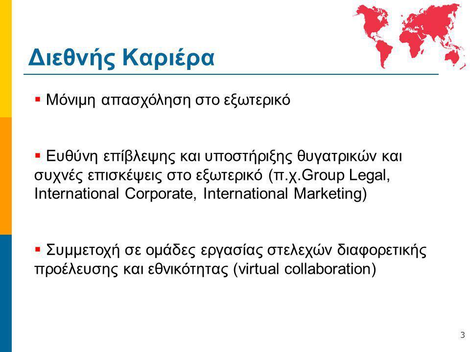 Διεθνής Καριέρα 3  Μόνιμη απασχόληση στο εξωτερικό  Ευθύνη επίβλεψης και υποστήριξης θυγατρικών και συχνές επισκέψεις στο εξωτερικό (π.χ.Group Legal