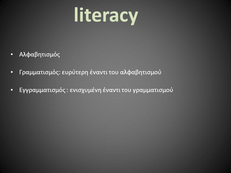 literacy Αλφαβητισμός Γραμματισμός: ευρύτερη έναντι του αλφαβητισμού Εγγραμματισμός : ενισχυμένη έναντι του γραμματισμού