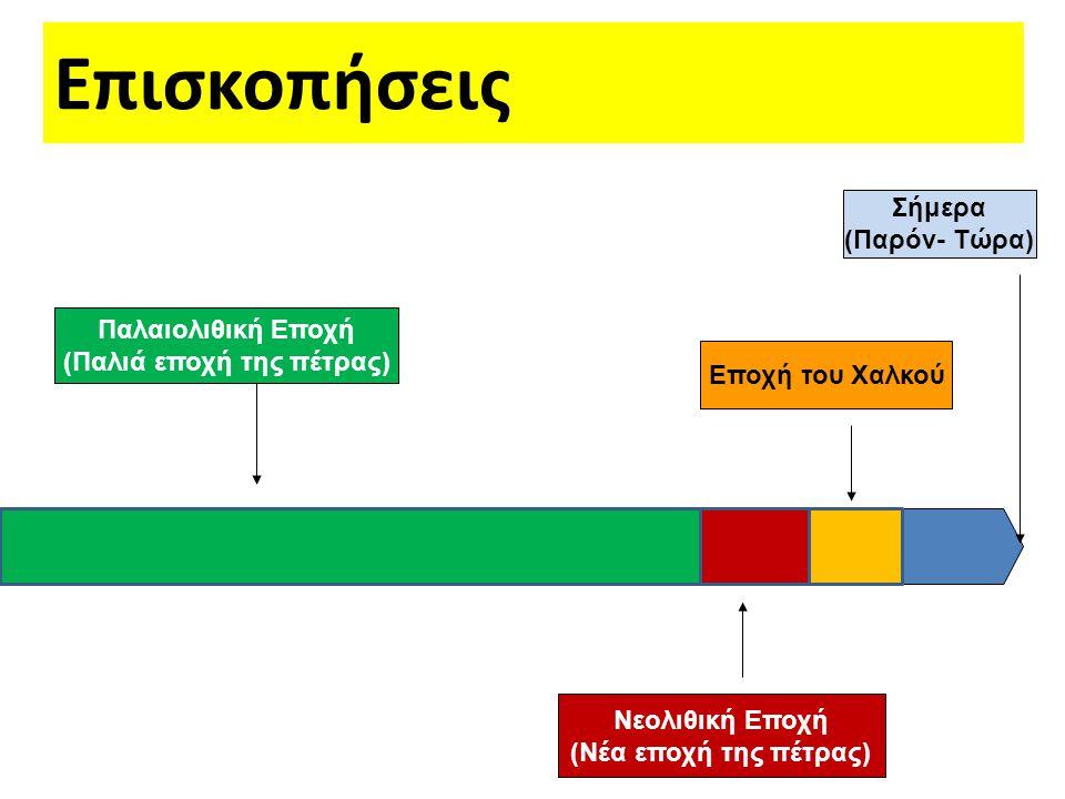 Επισκοπήσεις Παλαιολιθική Εποχή (Παλιά εποχή της πέτρας) Νεολιθική Εποχή (Νέα εποχή της πέτρας) Εποχή του Χαλκού Σήμερα (Παρόν- Τώρα)