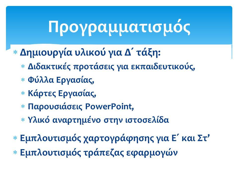  Δημιουργία υλικού για Δ΄ τάξη:  Διδακτικές προτάσεις για εκπαιδευτικούς,  Φύλλα Εργασίας,  Κάρτες Εργασίας,  Παρουσιάσεις PowerPoint,  Υλικό αναρτημένο στην ιστοσελίδα  Εμπλουτισμός χαρτογράφησης για Ε΄ και Στ'  Εμπλουτισμός τράπεζας εφαρμογών Προγραμματισμός