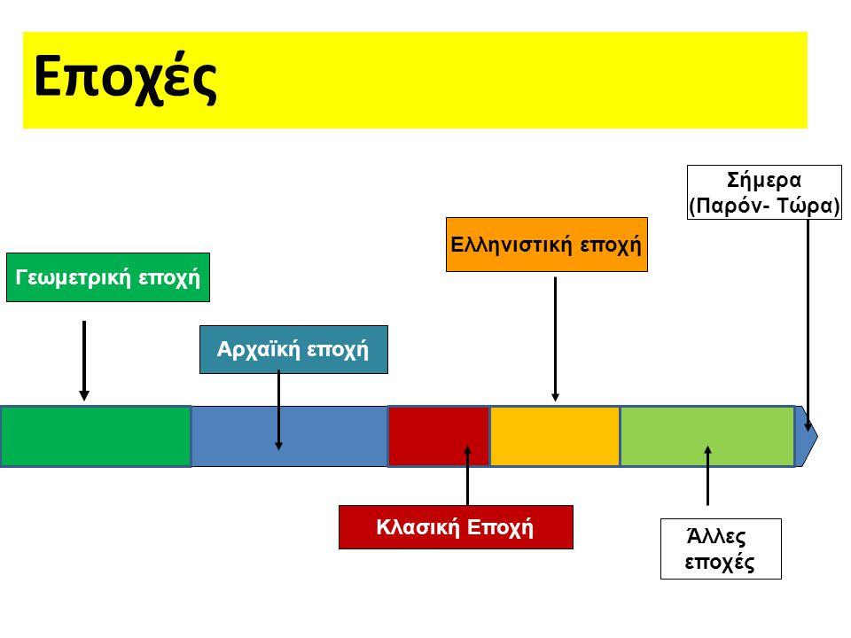 Γεωμετρική εποχή Κλασική Εποχή Ελληνιστική εποχή Σήμερα (Παρόν- Τώρα) Άλλες εποχές Αρχαϊκή εποχή Εποχές