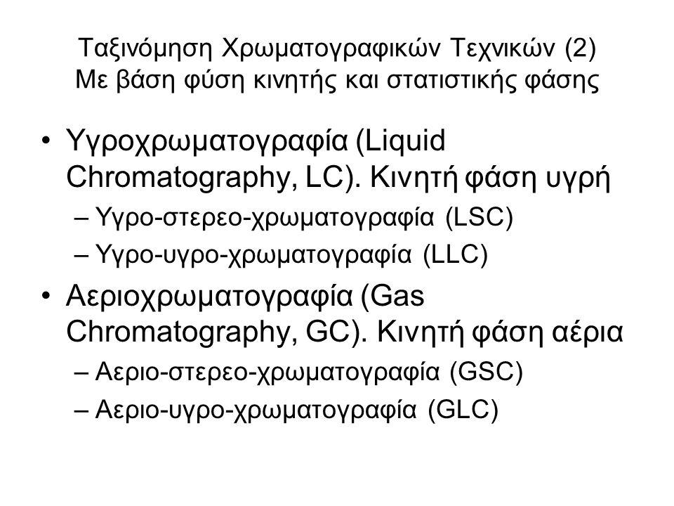Ταξινόμηση Χρωματογραφικών Τεχνικών (2) Με βάση φύση κινητής και στατιστικής φάσης Υγροχρωματογραφία (Liquid Chromatography, LC). Κινητή φάση υγρή –Υγ
