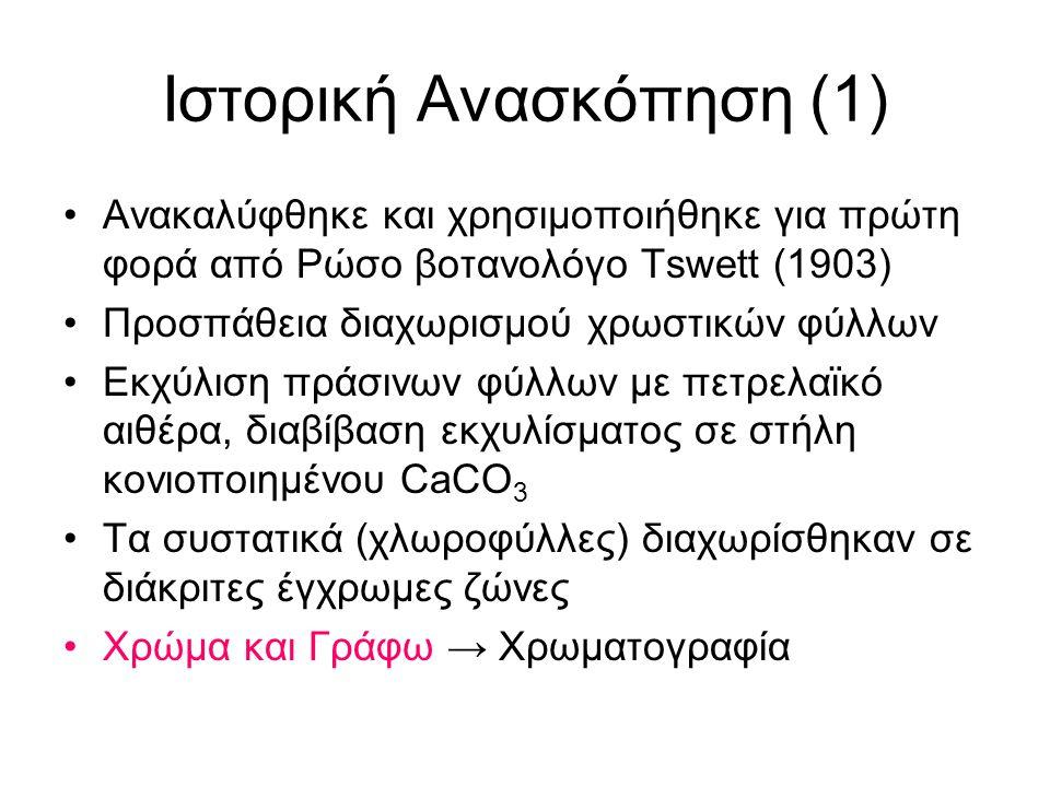 Ιστορική Ανασκόπηση (1) Ανακαλύφθηκε και χρησιμοποιήθηκε για πρώτη φορά από Ρώσο βοτανολόγο Tswett (1903) Προσπάθεια διαχωρισμού χρωστικών φύλλων Εκχύ