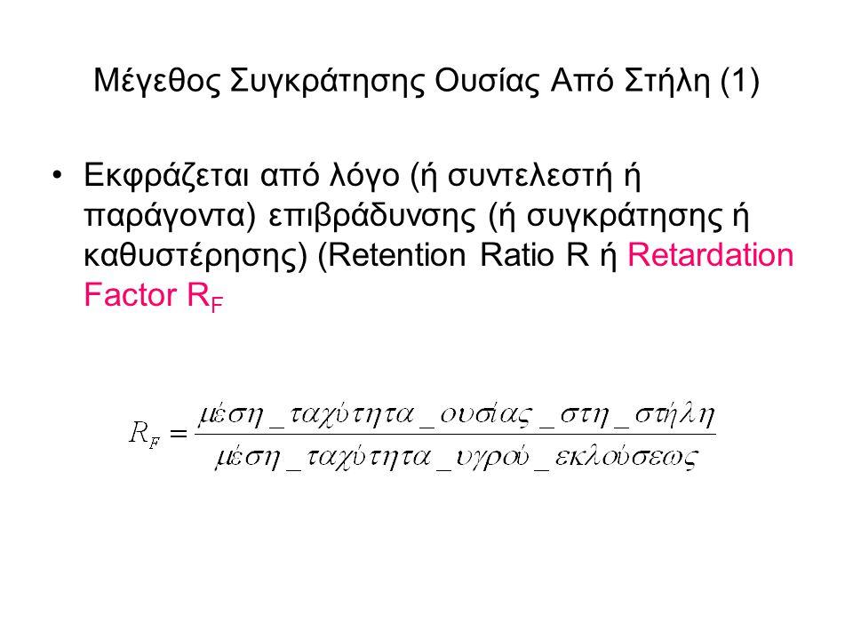 Μέγεθος Συγκράτησης Ουσίας Από Στήλη (1) Εκφράζεται από λόγο (ή συντελεστή ή παράγοντα) επιβράδυνσης (ή συγκράτησης ή καθυστέρησης) (Retention Ratio R