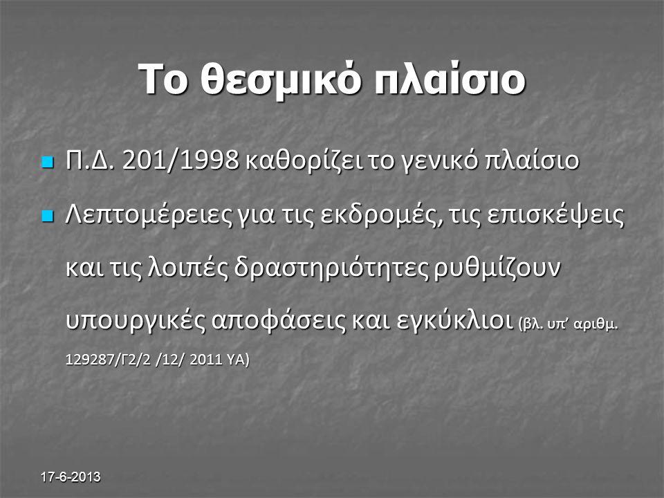 17-6-2013 Το θεσμικό πλαίσιο Π.Δ. 201/1998 καθορίζει το γενικό πλαίσιο Π.Δ. 201/1998 καθορίζει το γενικό πλαίσιο Λεπτομέρειες για τις εκδρομές, τις επ