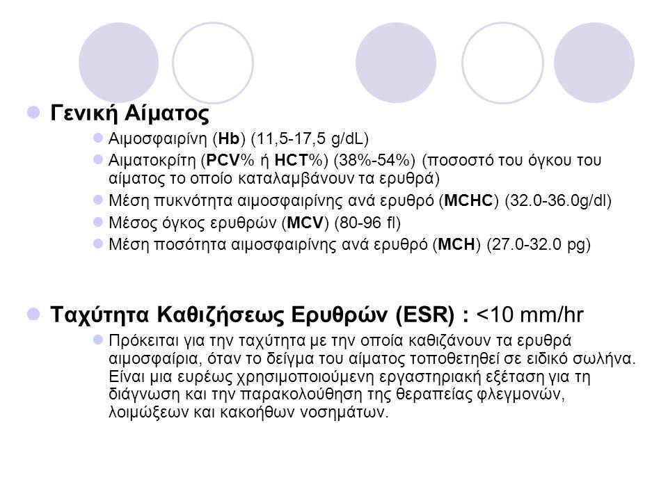 Γενική Αίματος Αιμοσφαιρίνη (Hb) (11,5-17,5 g/dL) Αιματοκρίτη (PCV% ή HCT%) (38%-54%) (ποσοστό του όγκου του αίματος το οποίο καταλαμβάνουν τα ερυθρά)