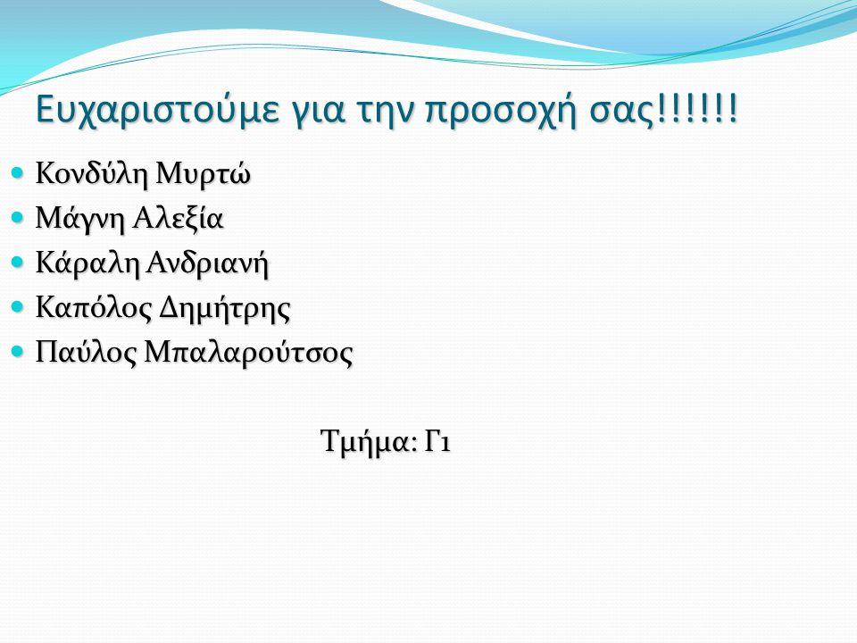 Ευχαριστούμε για την προσοχή σας!!!!!! Κονδύλη Μυρτώ Κονδύλη Μυρτώ Μάγνη Αλεξία Μάγνη Αλεξία Κάραλη Ανδριανή Κάραλη Ανδριανή Καπόλος Δημήτρης Καπόλος