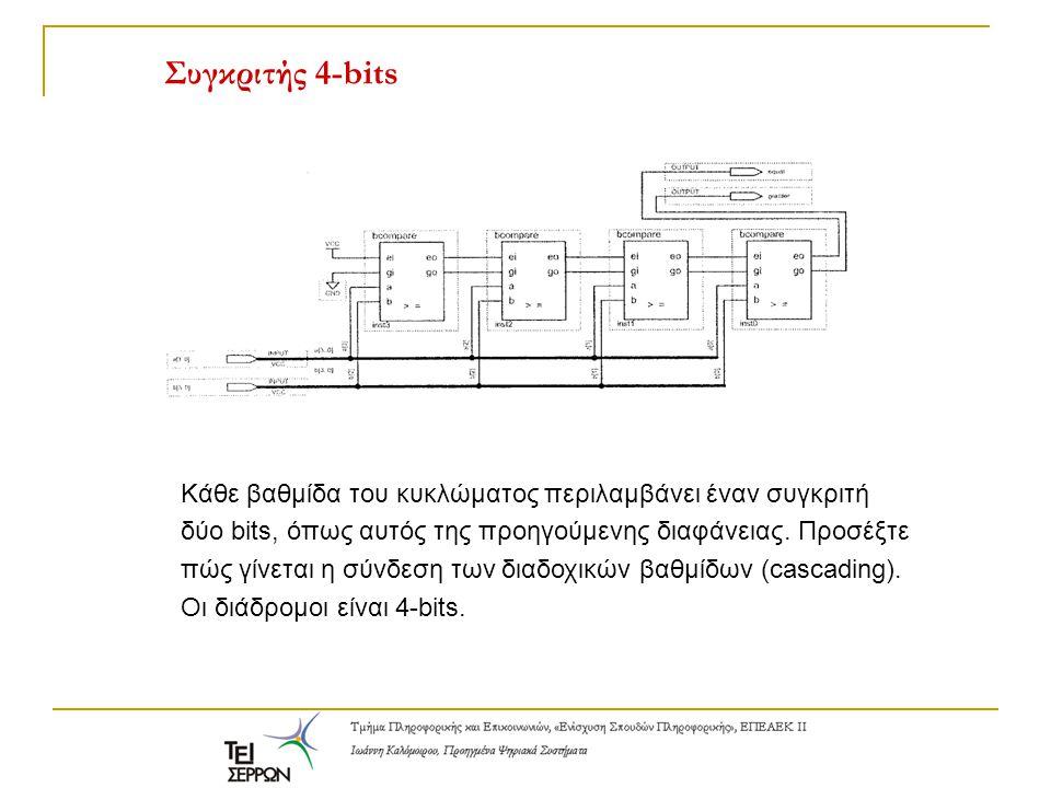 Συγκριτής 4-bits Κάθε βαθμίδα του κυκλώματος περιλαμβάνει έναν συγκριτή δύο bits, όπως αυτός της προηγούμενης διαφάνειας. Προσέξτε πώς γίνεται η σύνδε