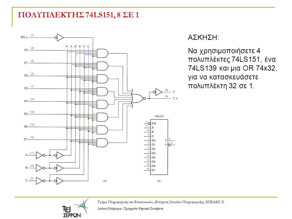 ΠΟΛΥΠΛΕΚΤΗΣ 74LS151, 8 ΣΕ 1 ΑΣΚΗΣΗ: Να χρησιμοποιήσετε 4 πολυπλέκτες 74LS151, ένα 74LS139 και μια OR 74x32, για να κατασκευάσετε πολυπλέκτη 32 σε 1.