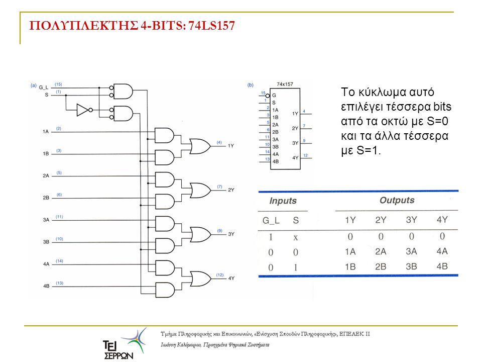 ΠΟΛΥΠΛΕΚΤΗΣ 4-BITS: 74LS157 Tο κύκλωμα αυτό επιλέγει τέσσερα bits από τα οκτώ με S=0 και τα άλλα τέσσερα με S=1.