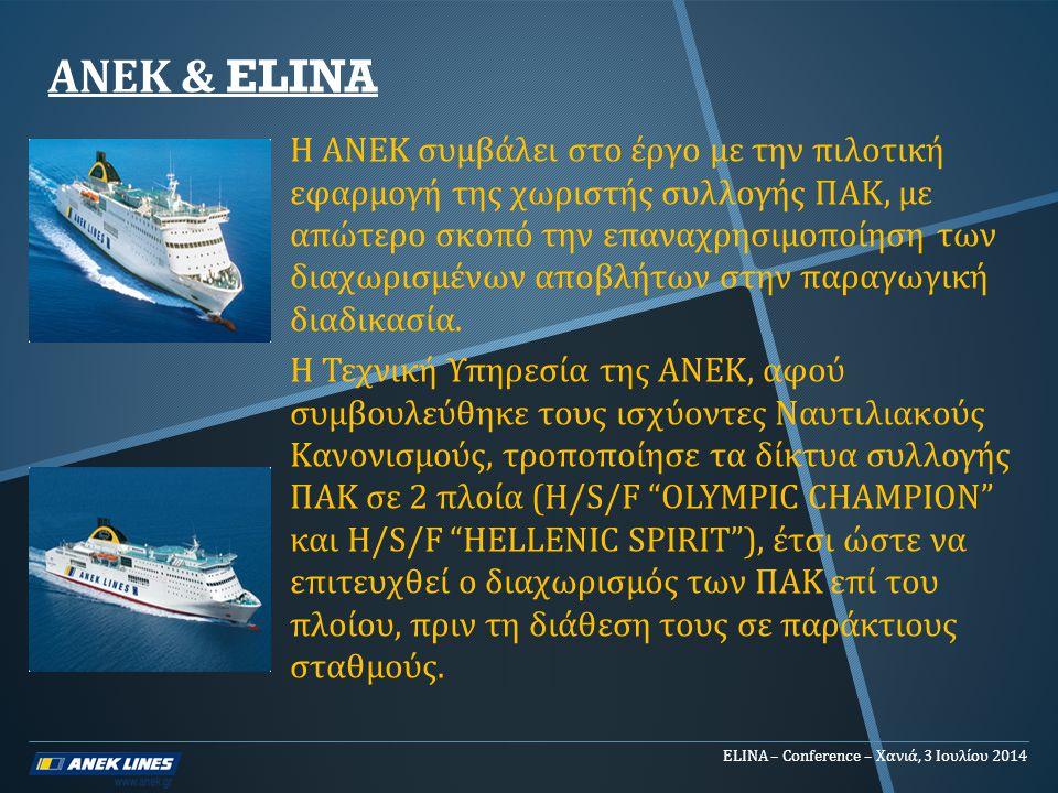 ANEK & ELINA Η ΑΝΕΚ συμβάλει στο έργο με την πιλοτική εφαρμογή της χωριστής συλλογής ΠΑΚ, με απώτερο σκοπό την επαναχρησιμοποίηση των διαχωρισμένων απ