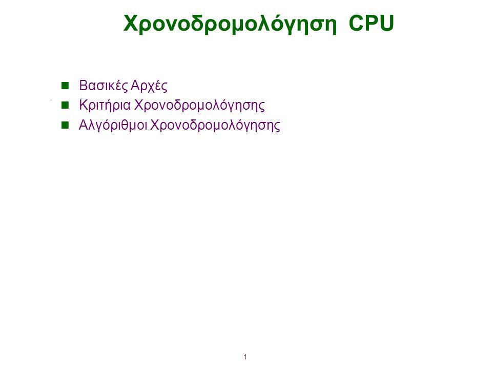 1 Χρονοδρομολόγηση CPU Βασικές Αρχές Κριτήρια Χρονοδρομολόγησης Αλγόριθμοι Χρονοδρομολόγησης