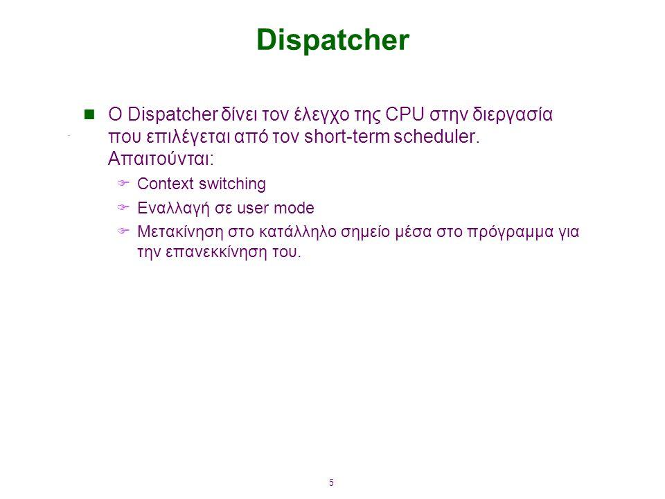 5 Dispatcher O Dispatcher δίνει τον έλεγχο της CPU στην διεργασία που επιλέγεται από τον short-term scheduler. Απαιτούνται:  Context switching  Εναλ