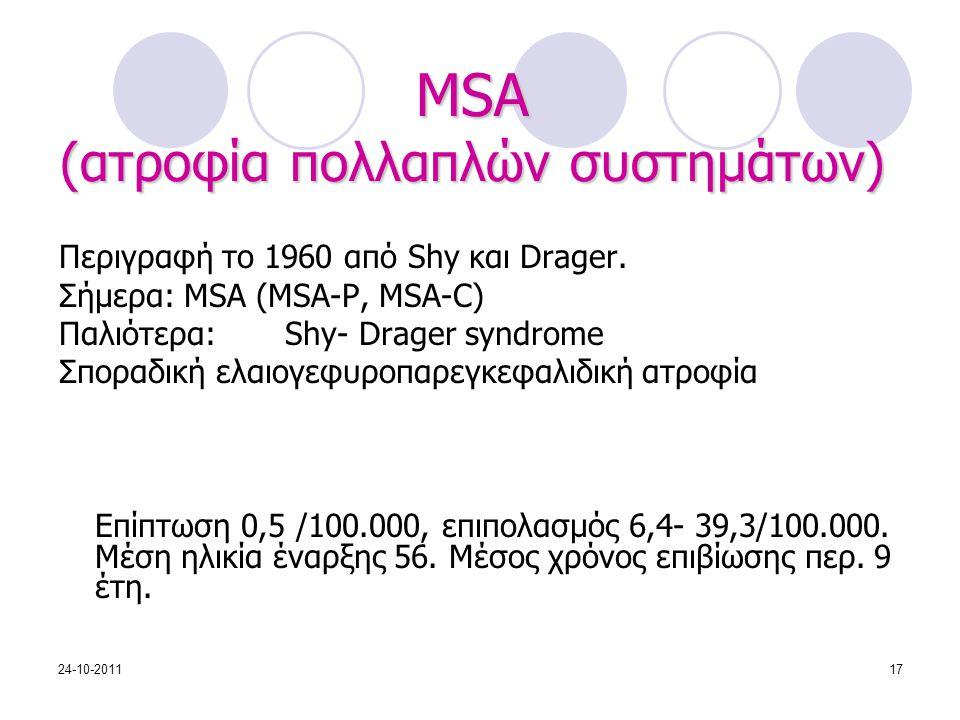 MSA (ατροφία πολλαπλών συστημάτων) Περιγραφή το 1960 από Shy και Drager. Σήμερα: MSA (MSA-P, MSA-C) Παλιότερα: Shy- Drager syndrome Σποραδική ελαιογεφ