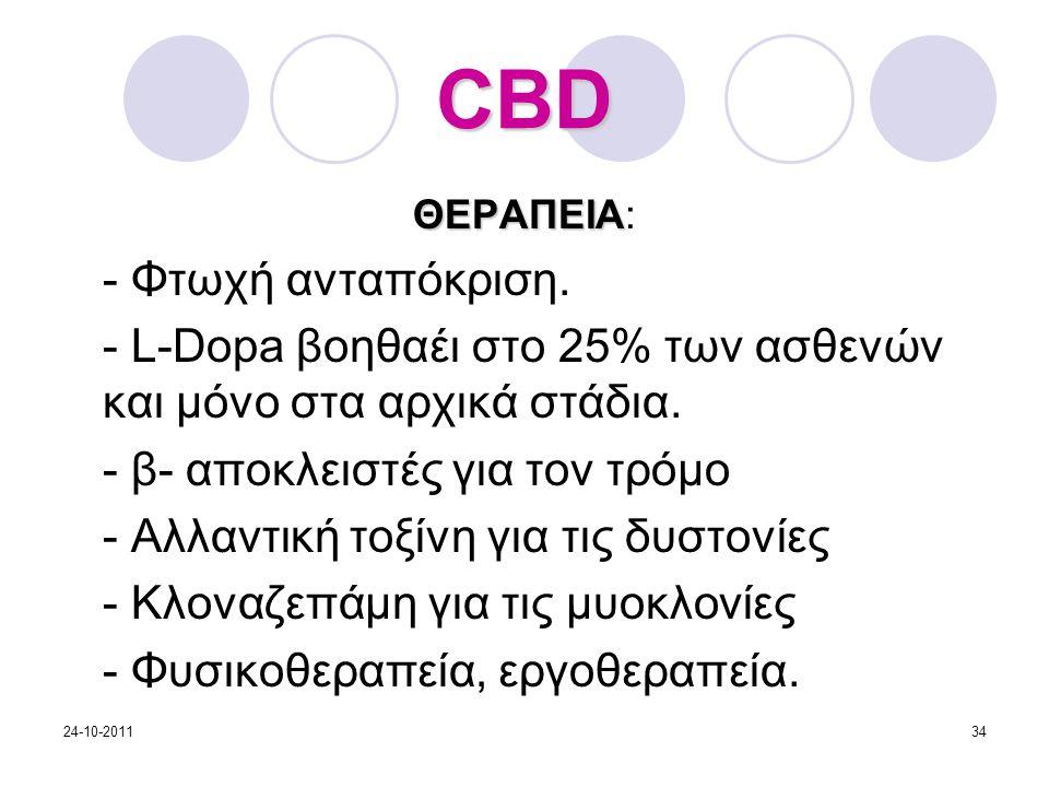 ΘΕΡΑΠΕΙΑ ΘΕΡΑΠΕΙΑ: - Φτωχή ανταπόκριση. - L-Dopa βοηθαέι στο 25% των ασθενών και μόνο στα αρχικά στάδια. - β- αποκλειστές για τον τρόμο - Αλλαντική το