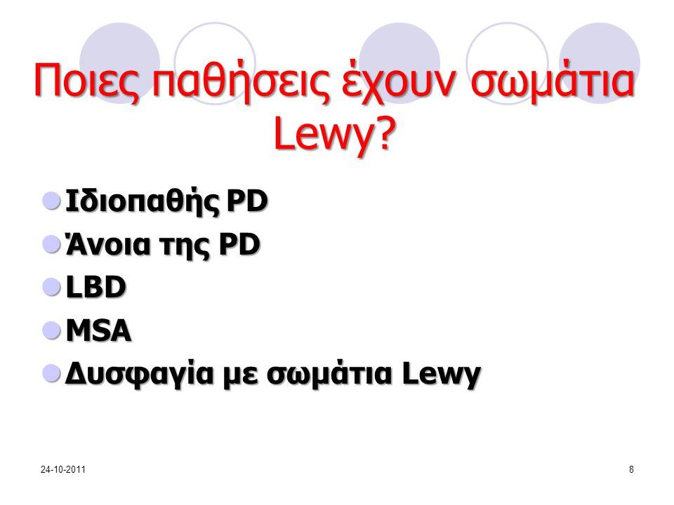 Ποιες παθήσεις έχουν σωμάτια Lewy? Ιδιοπαθής PD Ιδιοπαθής PD Άνοια της PD Άνοια της PD LBD LBD MSA MSA Δυσφαγία με σωμάτια Lewy Δυσφαγία με σωμάτια Le