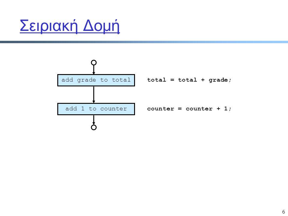 6 Σειριακή Δομή add grade to total add 1 to counter total = total + grade; counter = counter + 1;