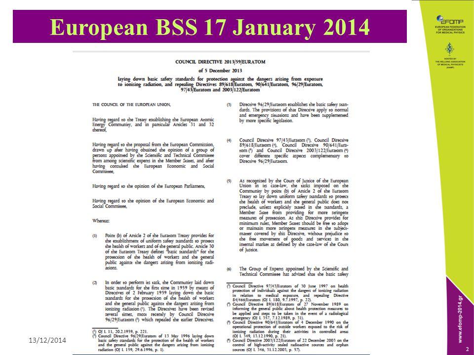 ΕΝΩΣΗ ΦΥΣΙΚΩΝ ΙΑΤΡΙΚΗΣ ΕΛΛΑΔΟΣ13/12/2014 2 European BSS 17 January 2014