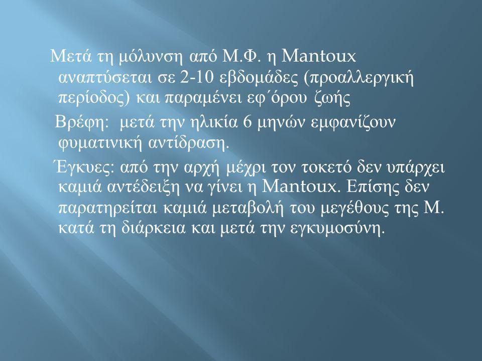 Μετά τη μόλυνση από Μ. Φ. η Mantoux αναπτύσεται σε 2-10 εβδομάδες ( προαλλεργική περίοδος ) και παραμένει εφ΄όρου ζωής Βρέφη : μετά την ηλικία 6 μηνών