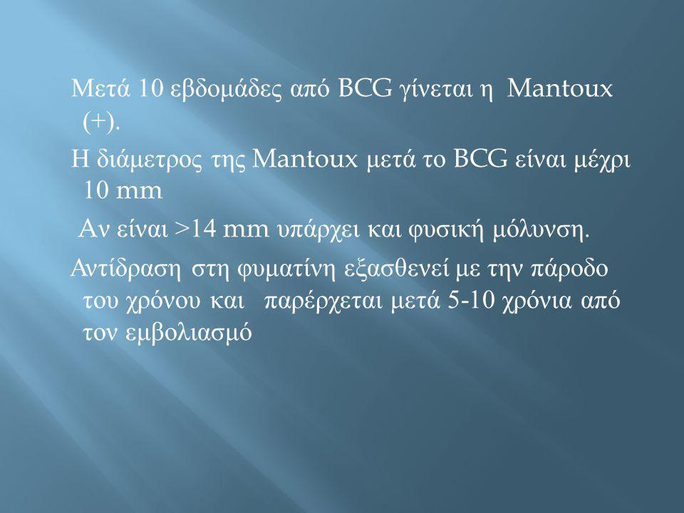 Μετά 10 εβδομάδες από BCG γίνεται η Mantoux (+). Η διάμετρος της Mantoux μετά το BCG είναι μέχρι 10 mm A ν είναι >14 mm υπάρχει και φυσική μόλυνση. Αν