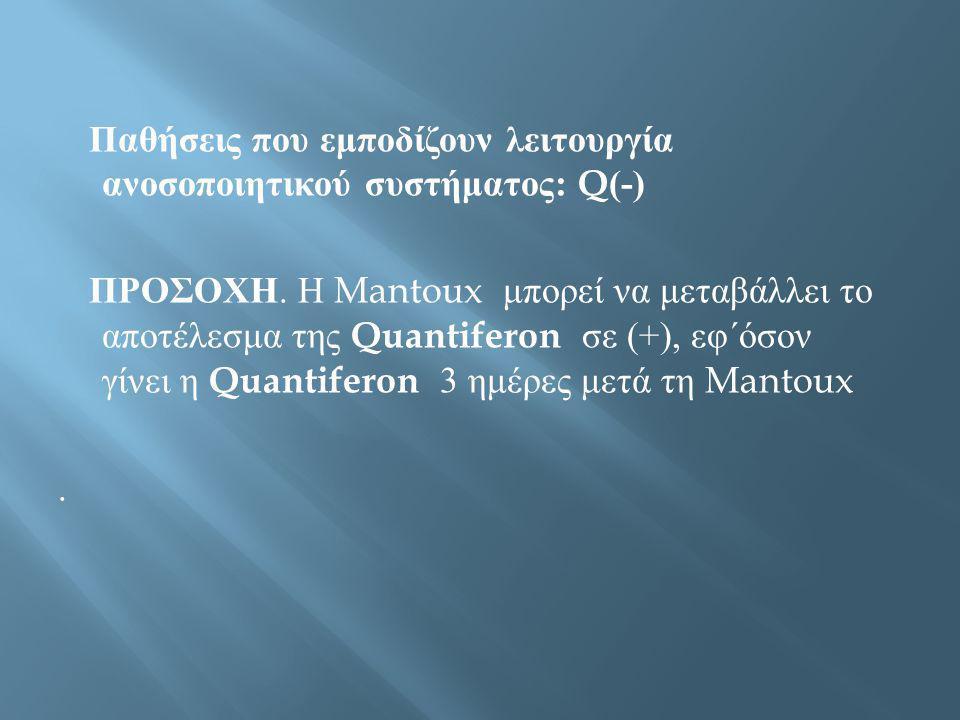 Παθήσεις που εμποδίζουν λειτουργία ανοσοποιητικού συστήματος : Q(-) ΠΡΟΣΟΧΗ. Η Mantoux μπορεί να μεταβάλλει το αποτέλεσμα της Quantiferon σε (+), εφ΄ό